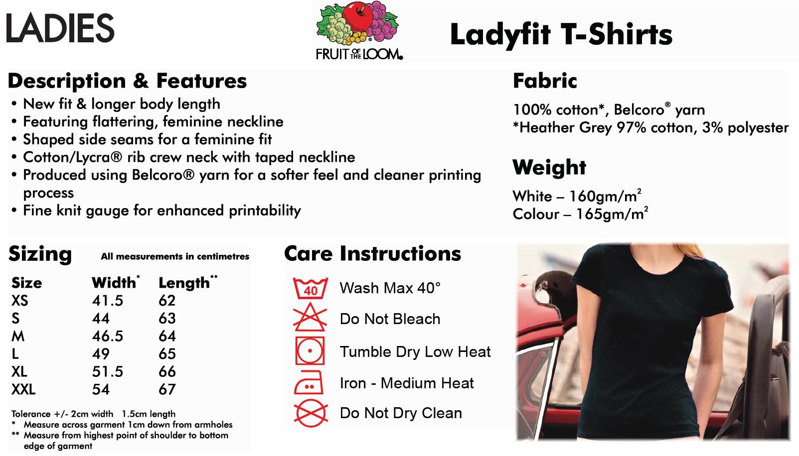 Ladyfit T-shirt info