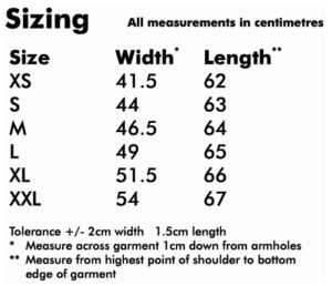 Ladyfit T-shirt sizes info